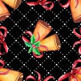 Naadloos Kerstmispatroon met klok stock illustratie