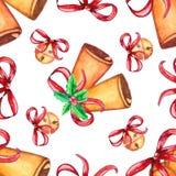 Naadloos Kerstmispatroon met klok royalty-vrije illustratie