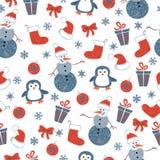 Naadloos Kerstmispatroon met krabbel decoratieve elementen vector illustratie