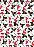 Naadloos Kerstmispatroon met sokken, suikergoed, hulst, en bogen stock illustratie