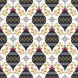 Naadloos Kerstmispatroon in uitstekende stijl stock illustratie