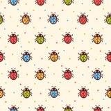 Naadloos kinderachtig lieveheersbeestjespatroon Stock Afbeelding