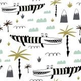 Naadloos kinderachtig patroon met hand getrokken leuke alligators Creatieve jonge geitjestextuur voor stof, het verpakken, textie royalty-vrije illustratie