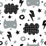 Naadloos kinderachtig patroon met leuk heldenmasker, flas, ster, wolk Creatieve jonge geitjestextuur voor stof, het verpakken, te vector illustratie