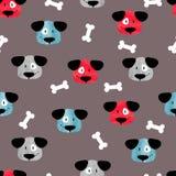 Naadloos kinderachtig patroon met leuke honden en beenderen royalty-vrije illustratie