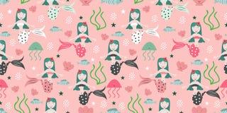 Naadloos kinderachtig patroon met leuke meerminnen Onderzeese vectorillustratie in textuur Perfectioneer voor stof, textiel, het  royalty-vrije illustratie