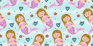 Naadloos kinderachtig patroon met leuke meerminnen Onderzeese vectorillustratie in textuur Perfectioneer voor stof, textiel, het  stock illustratie