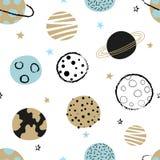 Naadloos kinderachtig ruimtepatroon met krabbelplaneten stock illustratie