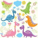 Naadloos kinderlijk patroon - dinosaurus Stock Foto