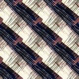 Naadloos kleurrijk abstract patroon Zwarte, beige, bruine diagonale strepen Stock Afbeelding