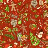 Naadloos kleurrijk Kerstmispatroon stock illustratie