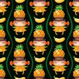 Naadloos kleurrijk patroon met het meisje van het Ananasfruit Het kan voor prestaties van het ontwerpwerk noodzakelijk zijn vector illustratie