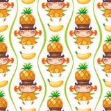 Naadloos kleurrijk patroon met het meisje van het Ananasfruit Het kan voor prestaties van het ontwerpwerk noodzakelijk zijn stock illustratie
