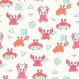 Naadloos kleurrijk patroon met krabben Stock Afbeeldingen