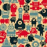 Naadloos kleurrijk patroon met leuke robots in uitstekende kleuren vector illustratie