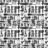 Naadloos kleurrijk patroon in stedelijke stijl Zwart-witte achtergrond Royalty-vrije Stock Fotografie