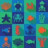 Naadloos kleurrijk pixel diepzeepatroon Stock Afbeelding