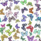 Naadloos kleurrijk vlinderpatroon Vector stock illustratie