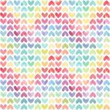 Naadloos kleurrijk waterverf geschilderd hartenpatroon Stock Afbeeldingen