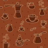 Naadloos koffiepatroon. Stock Foto