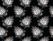 Naadloos koninklijk zilveren bladerenbehang Royalty-vrije Stock Afbeeldingen