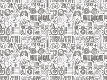 Naadloos krabbel Medisch patroon Royalty-vrije Stock Afbeeldingen