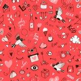 Naadloos krabbelpatroon voor St Valentine ` s Dag Stock Foto's