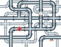 Naadloos labyrint van loodgieterswerkpijpen Stock Afbeeldingen