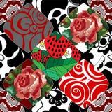 Naadloos lapwerkpatroon met bloemen royalty-vrije illustratie