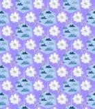 Naadloos lapwerkpatroon met wolken in de hemel en waterverfbloemen Royalty-vrije Stock Foto's