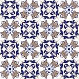 Naadloos lapwerkpatroon van Marokkaanse, Portugese tegels in blauwe en bruine kleuren Het decoratieve ornament kan voor behang wo vector illustratie