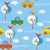 Naadloos leuk auto'spatroon Stock Afbeelding
