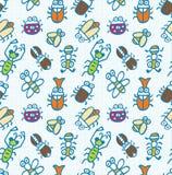 Naadloos leuk insectenpatroon Royalty-vrije Stock Afbeeldingen