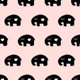 Naadloos leuk olifantspatroon Stock Fotografie