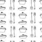 Naadloos leuk patroon met keukenpunten Stock Afbeeldingen