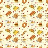 Naadloos leuk voedselpatroon Stock Foto