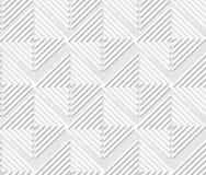 Naadloos licht die geometrische achtergrond met vierkant en driehoekselementen, witte lijnpatronen op lichtgrijze achtergrond teg Stock Foto's