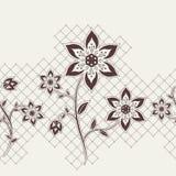 Naadloos lint met bloemenelementen Royalty-vrije Stock Afbeeldingen