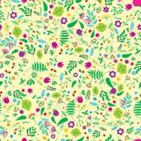 Naadloos loral patroon met gele achtergrond Retro concept van de aardbloem Royalty-vrije Stock Fotografie