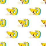 Naadloos malplaatje, de Gelukkige gele zitting van de beeldverhaalhond schrijf brieven Vector illustratie stock illustratie