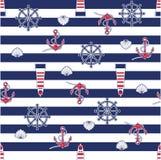 Naadloos marien patroon vector illustratie