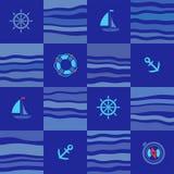 Naadloos marien patroon, blauwe vierkanten Royalty-vrije Stock Afbeeldingen