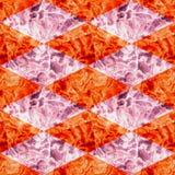 Naadloos marmerpatroon van oranje en roze ruiten stock illustratie