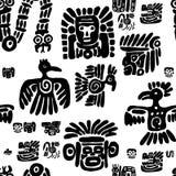 Naadloos maya patroon Zwart-witte etnische elementen stock illustratie