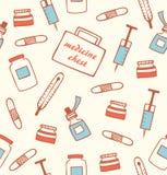 Naadloos medisch patroon Het ziekenhuisinstrument Gezond apotheek Drogisterijachtergrond stock illustratie