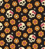 Naadloos met bloemen en schedels Stock Afbeeldingen