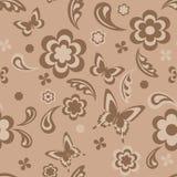 Naadloos met bloemen en vlinders Royalty-vrije Stock Afbeelding