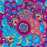 Naadloos met de hand geschilderd patroon van heldere krullen, De abstracte vectorachtergrond van de zomer Stock Foto's