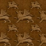 Naadloos met gevleugelde leeuwen Stock Foto's