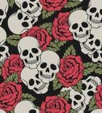 Naadloos met rozen en schedels Stock Afbeeldingen